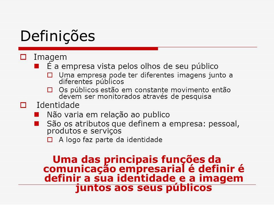 Definições Imagem. É a empresa vista pelos olhos de seu público. Uma empresa pode ter diferentes imagens junto a diferentes públicos.