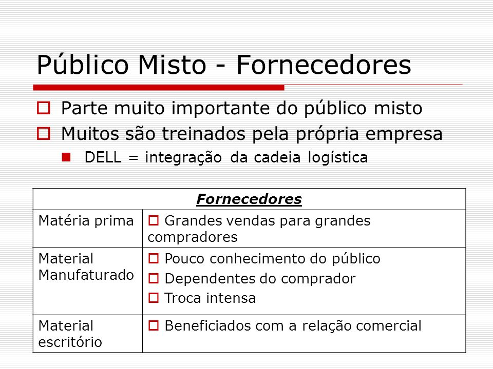 Público Misto - Fornecedores