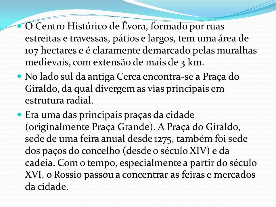 O Centro Histórico de Évora, formado por ruas estreitas e travessas, pátios e largos, tem uma área de 107 hectares e é claramente demarcado pelas muralhas medievais, com extensão de mais de 3 km.