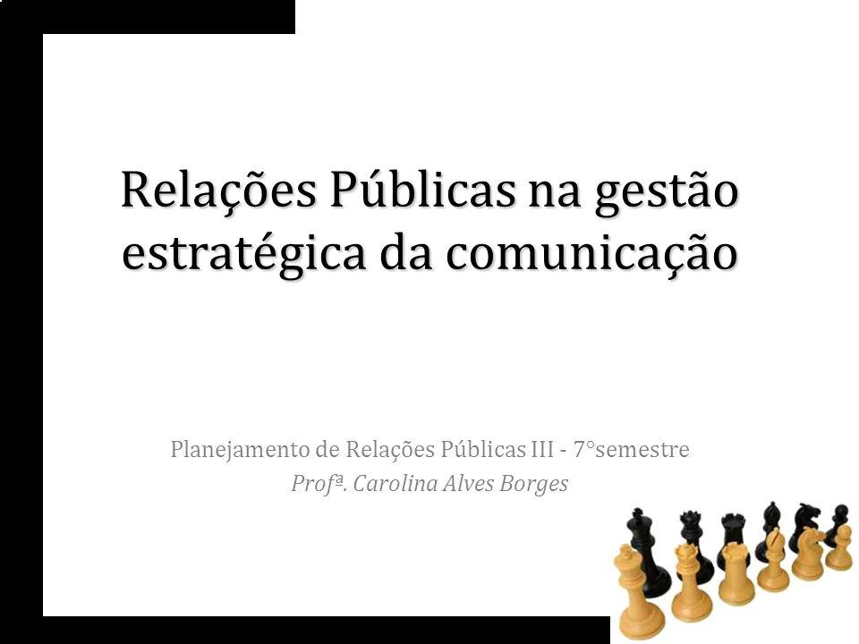 Relações Públicas na gestão estratégica da comunicação