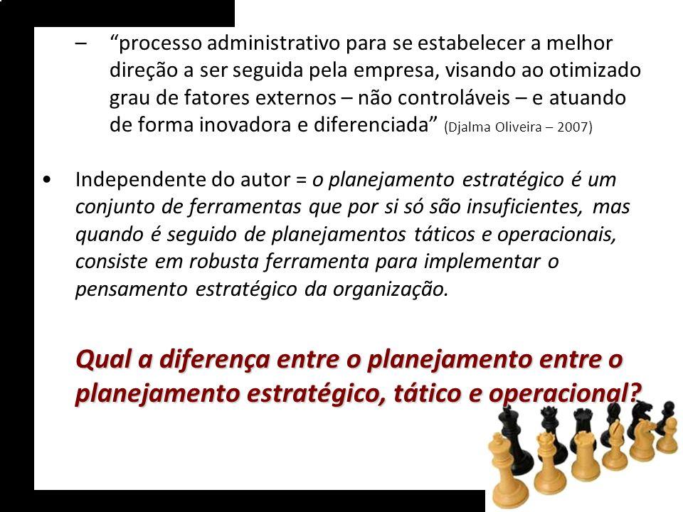 processo administrativo para se estabelecer a melhor direção a ser seguida pela empresa, visando ao otimizado grau de fatores externos – não controláveis – e atuando de forma inovadora e diferenciada (Djalma Oliveira – 2007)