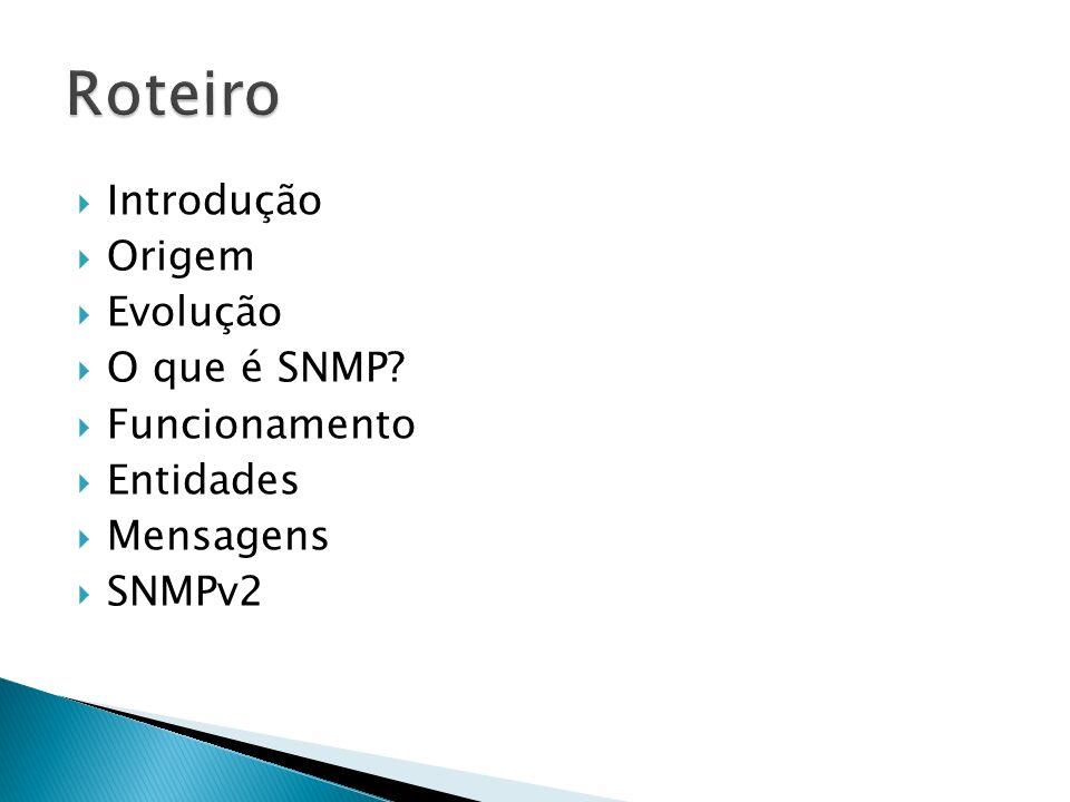 Roteiro Introdução Origem Evolução O que é SNMP Funcionamento