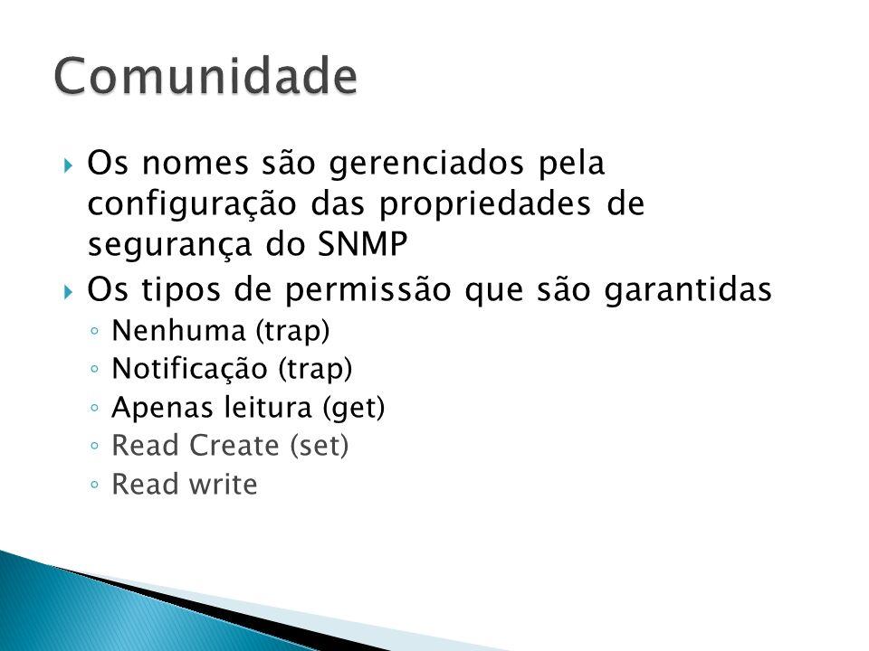 ComunidadeOs nomes são gerenciados pela configuração das propriedades de segurança do SNMP. Os tipos de permissão que são garantidas.