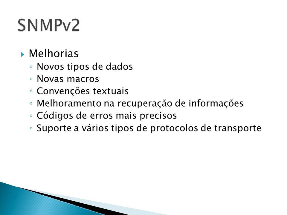 SNMPv2 Melhorias Novos tipos de dados Novas macros Convenções textuais