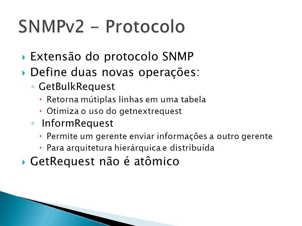 SNMPv2 - Protocolo Extensão do protocolo SNMP