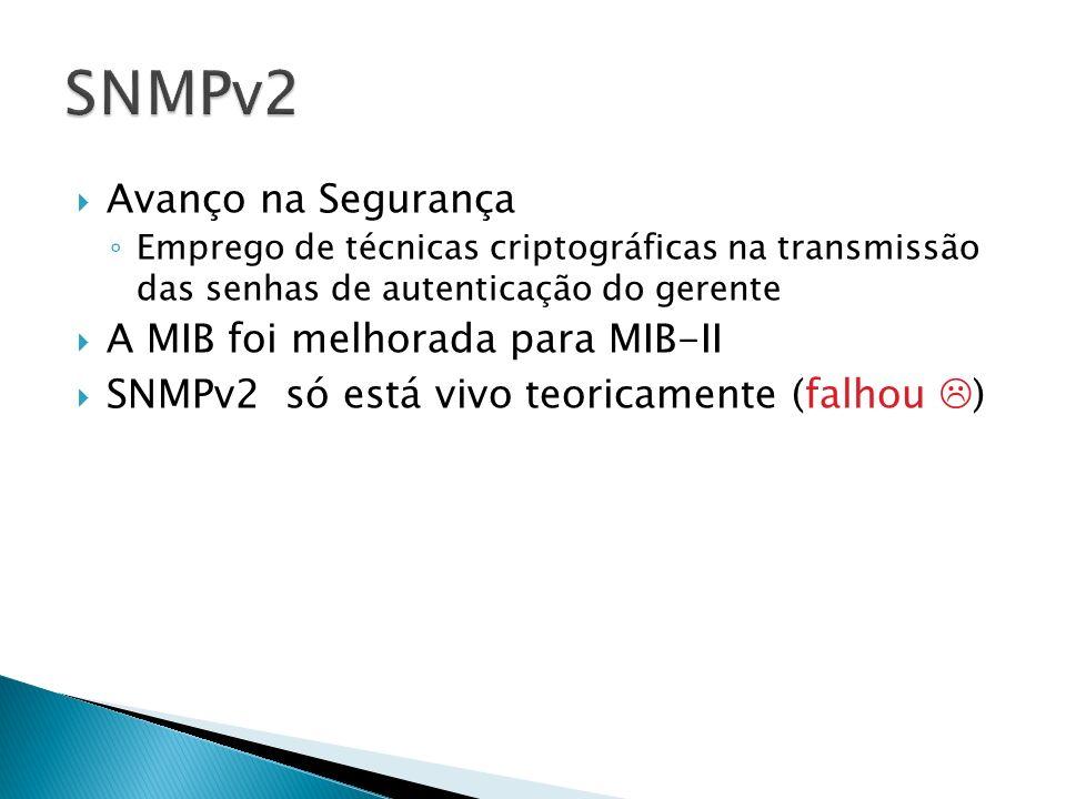 SNMPv2 Avanço na Segurança A MIB foi melhorada para MIB-II