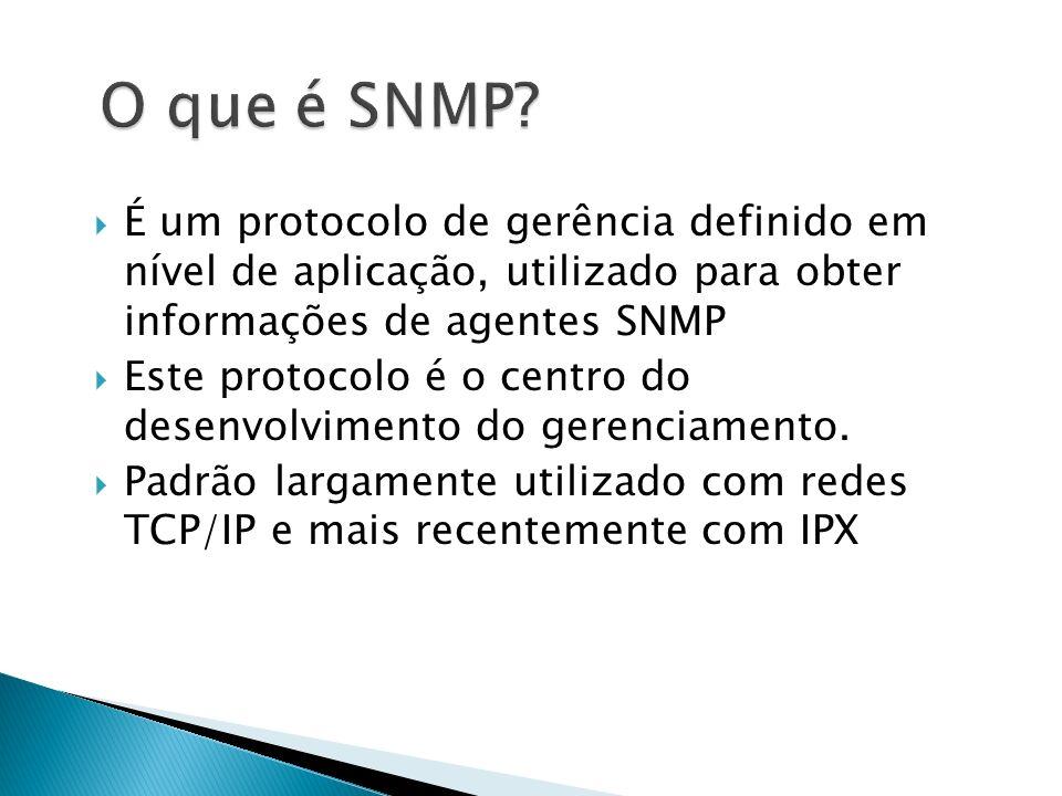 O que é SNMP É um protocolo de gerência definido em nível de aplicação, utilizado para obter informações de agentes SNMP.