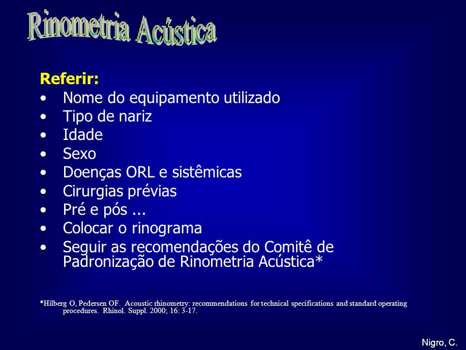 Rinometria Acústica Referir: Nome do equipamento utilizado