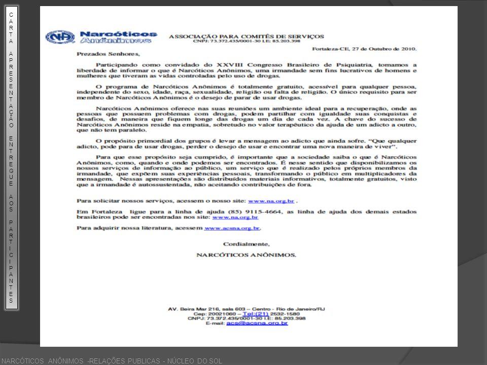 CARTA APRESENTAÇÃO ENTREGUE AOS PARTICPANTES