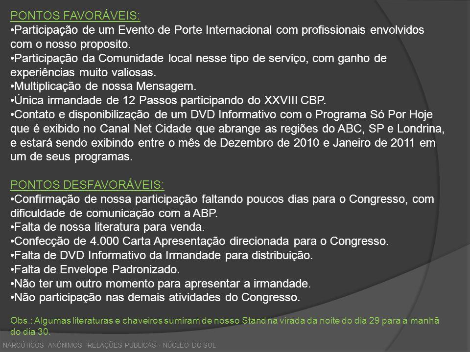 NARCÓTICOS ANÔNIMOS -RELAÇÕES PUBLICAS - NÚCLEO DO SOL