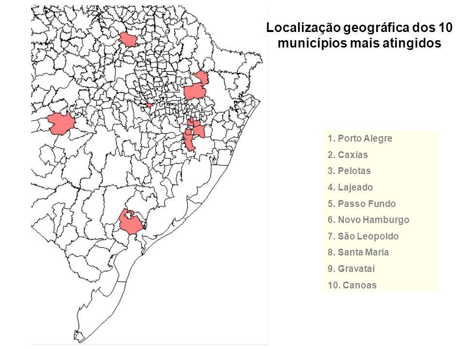 Localização geográfica dos 10 municípios mais atingidos