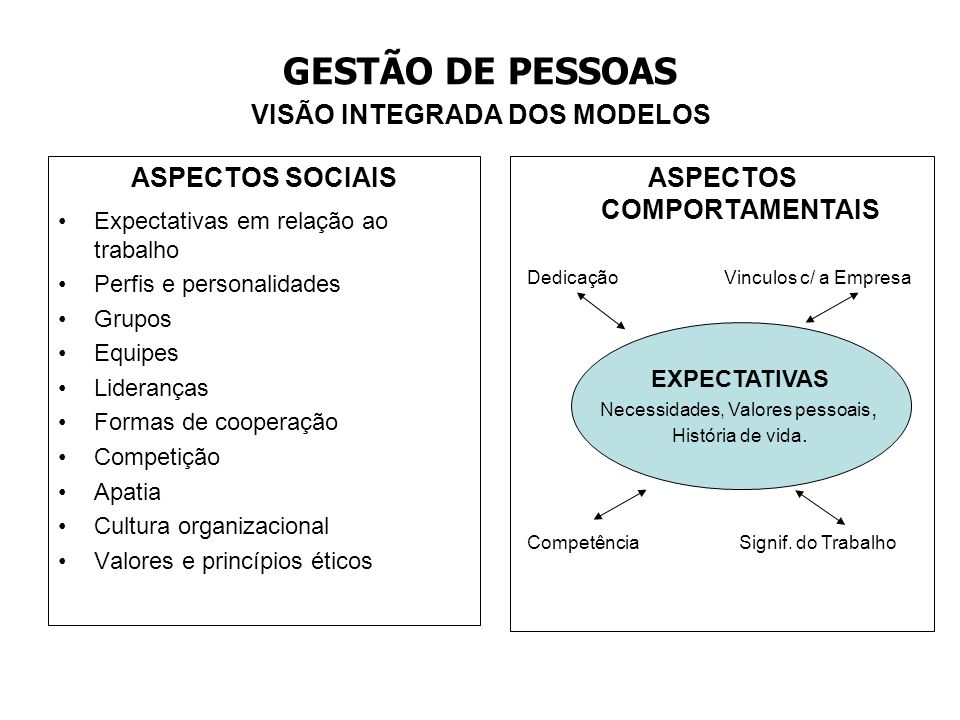 GESTÃO DE PESSOAS VISÃO INTEGRADA DOS MODELOS