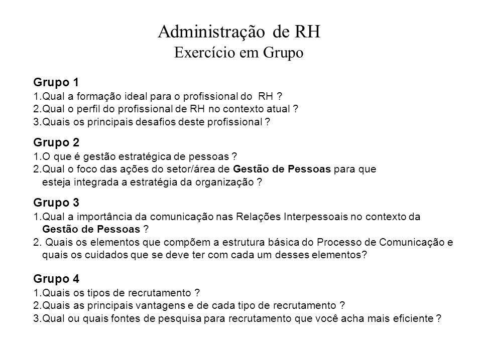 Administração de RH Exercício em Grupo