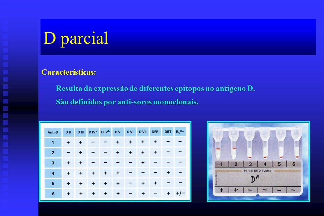 D parcial Características: Resulta da expressão de diferentes epítopos no antígeno D.