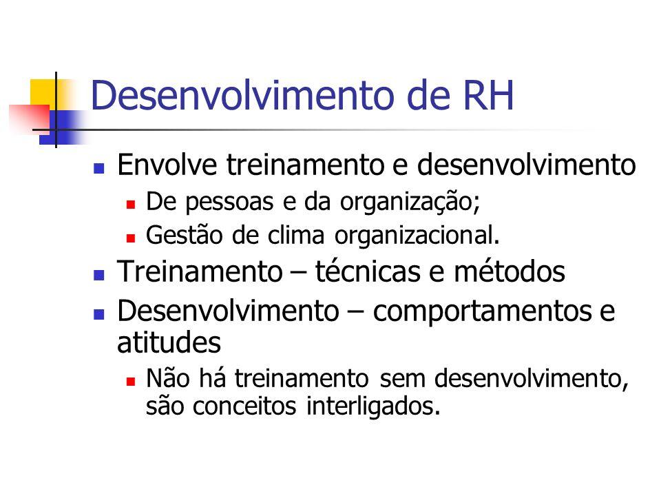 Desenvolvimento de RH Envolve treinamento e desenvolvimento