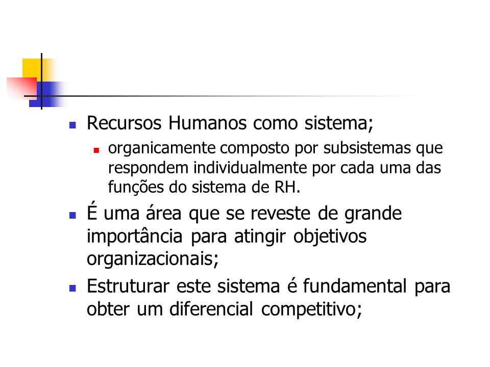 Recursos Humanos como sistema;