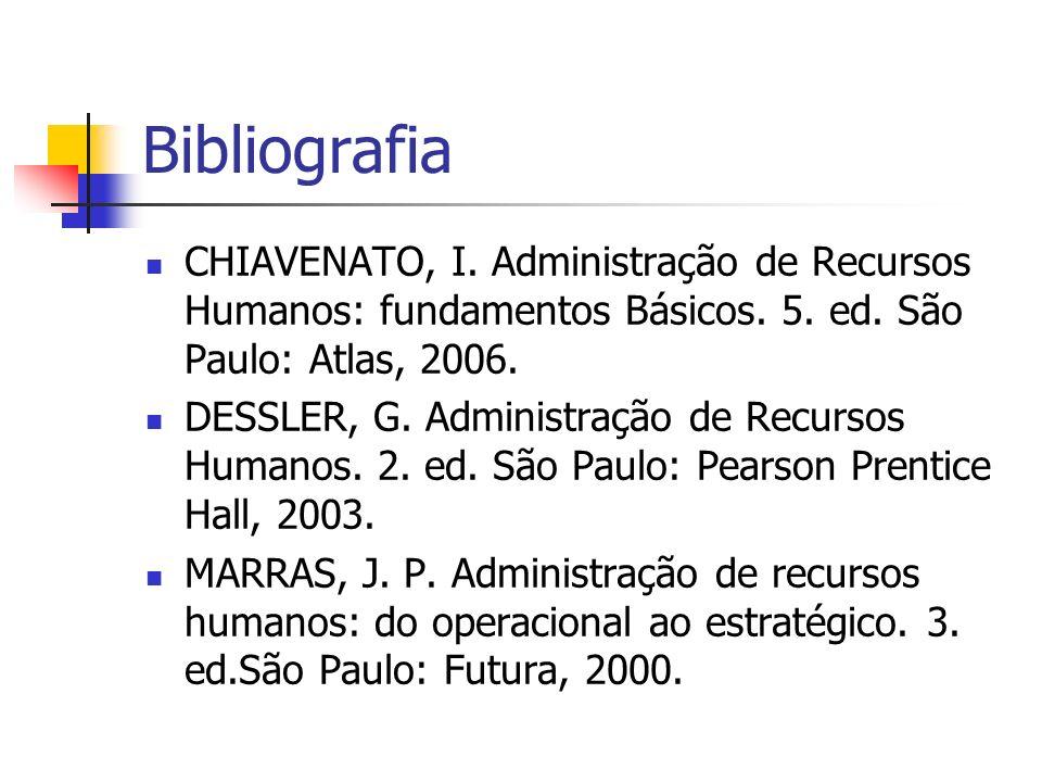 Bibliografia CHIAVENATO, I. Administração de Recursos Humanos: fundamentos Básicos. 5. ed. São Paulo: Atlas, 2006.