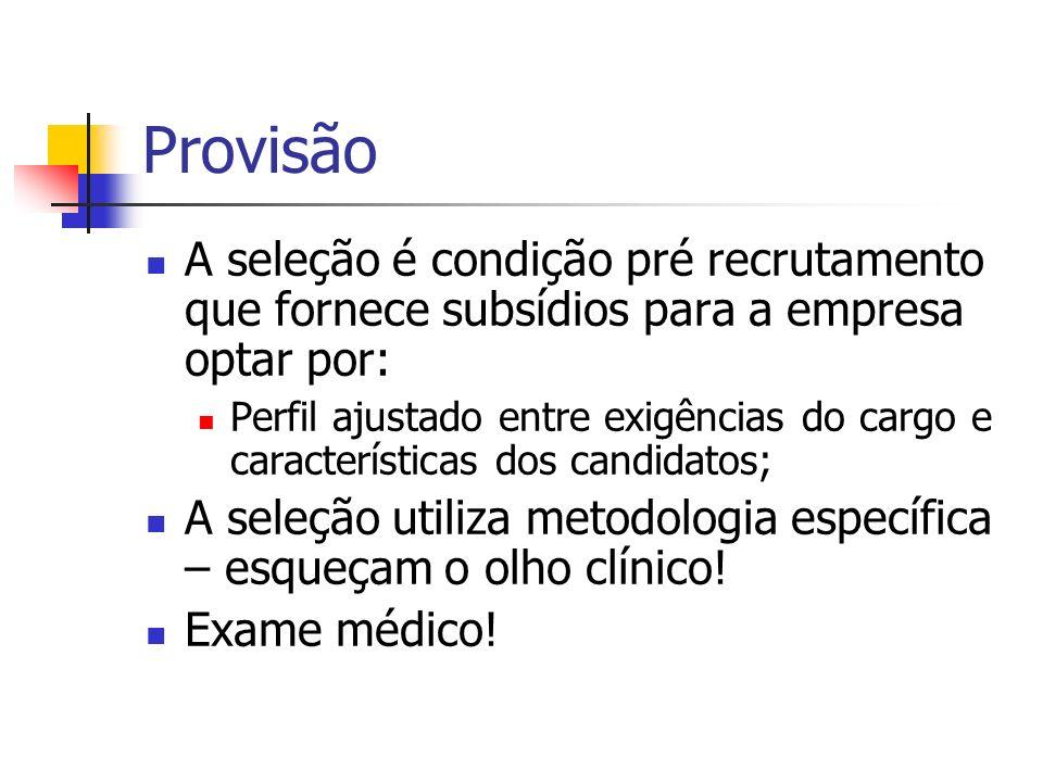 Provisão A seleção é condição pré recrutamento que fornece subsídios para a empresa optar por: