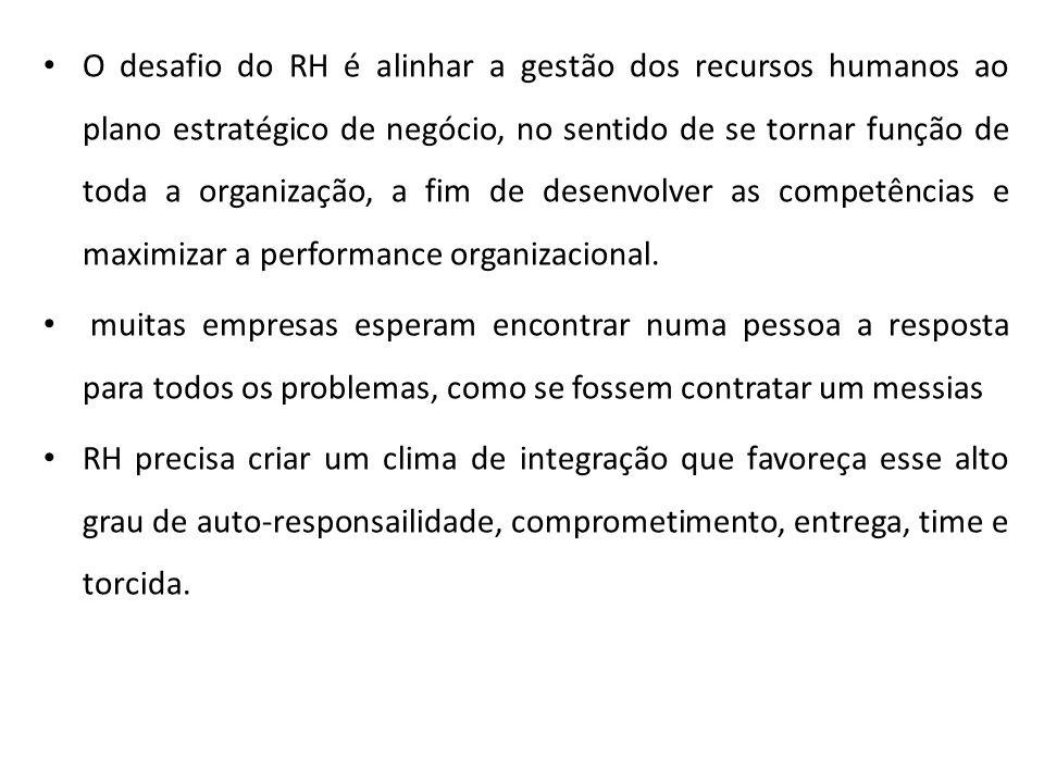 O desafio do RH é alinhar a gestão dos recursos humanos ao plano estratégico de negócio, no sentido de se tornar função de toda a organização, a fim de desenvolver as competências e maximizar a performance organizacional.