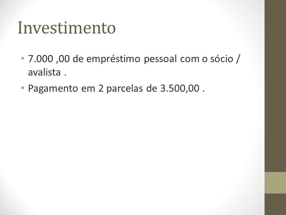 Investimento 7.000 ,00 de empréstimo pessoal com o sócio / avalista .
