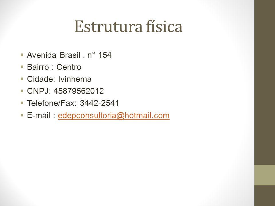 Estrutura física Avenida Brasil , n° 154 Bairro : Centro