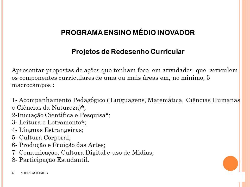 PROGRAMA ENSINO MÉDIO INOVADOR Projetos de Redesenho Curricular