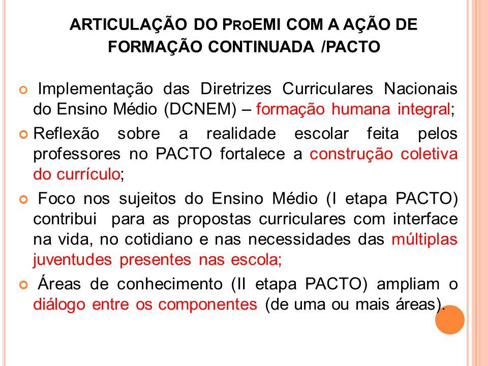 ARTICULAÇÃO DO ProEMI COM A AÇÃO DE FORMAÇÃO CONTINUADA /PACTO