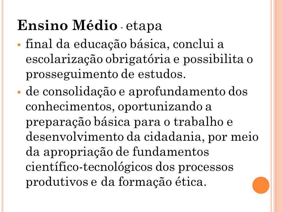 Ensino Médio - etapa final da educação básica, conclui a escolarização obrigatória e possibilita o prosseguimento de estudos.