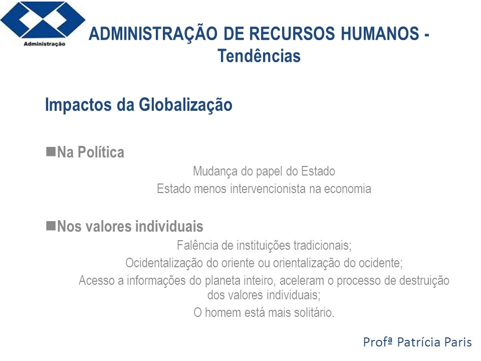 ADMINISTRAÇÃO DE RECURSOS HUMANOS - Tendências