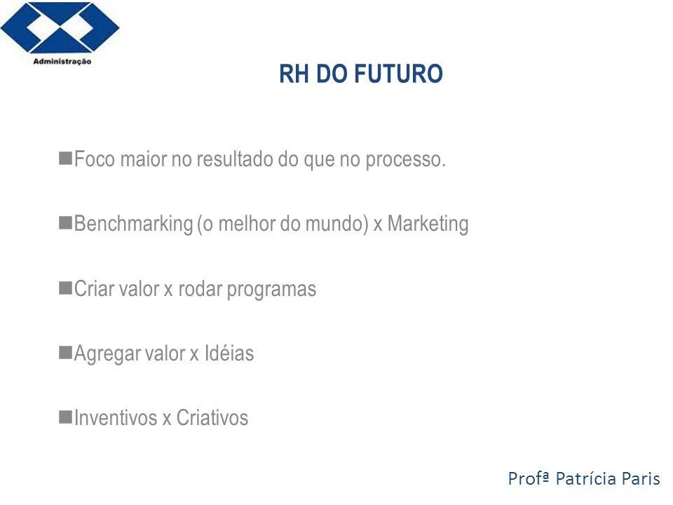 RH DO FUTURO Foco maior no resultado do que no processo.