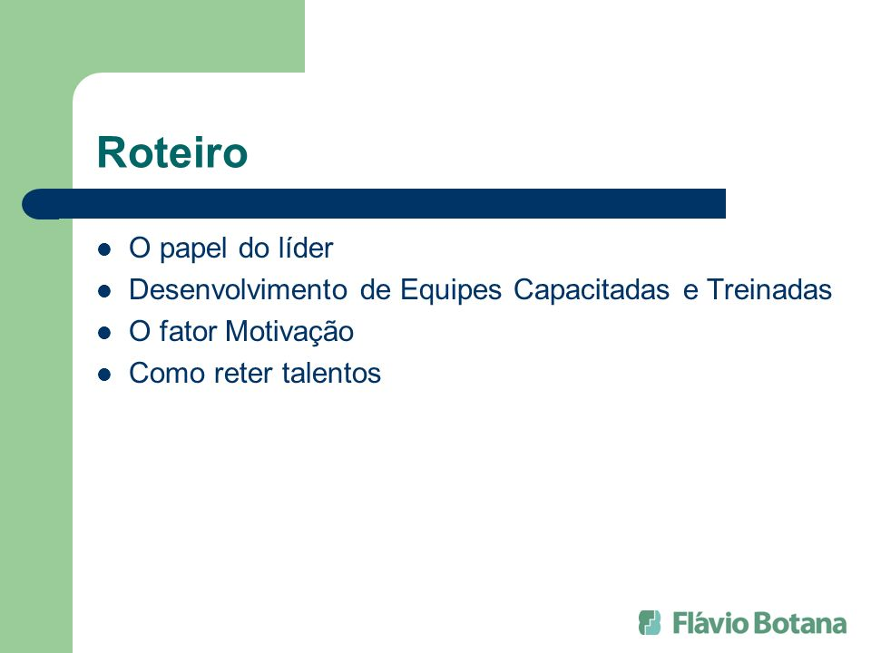 Roteiro O papel do líder