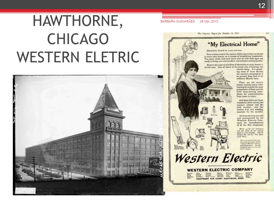 HAWTHORNE, CHICAGO WESTERN ELETRIC