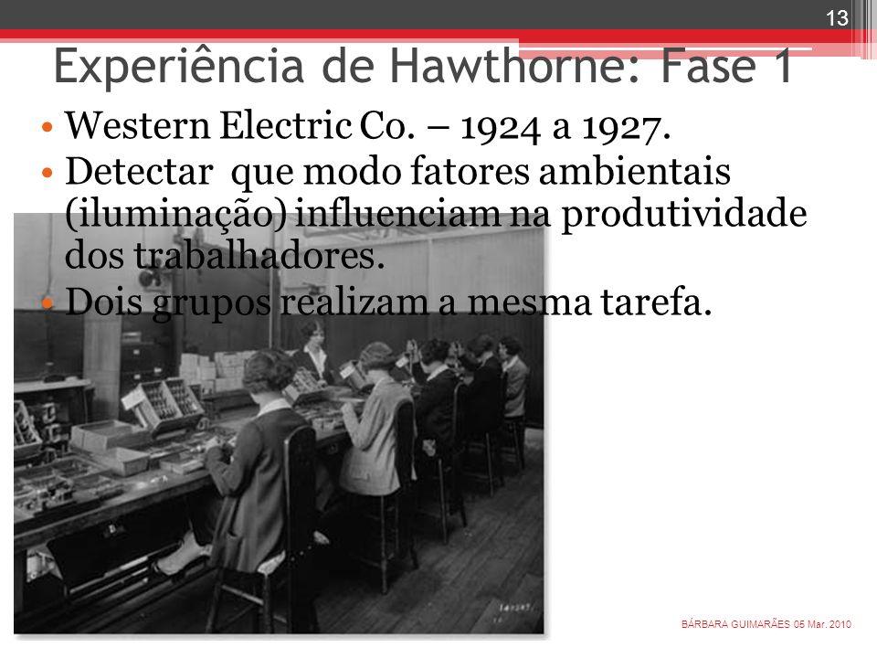 Experiência de Hawthorne: Fase 1