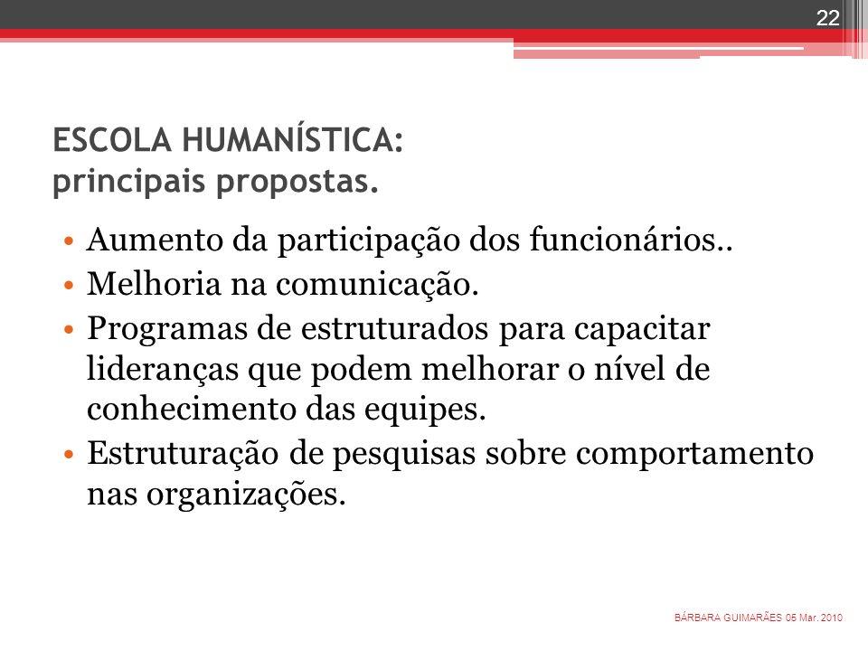 ESCOLA HUMANÍSTICA: principais propostas.