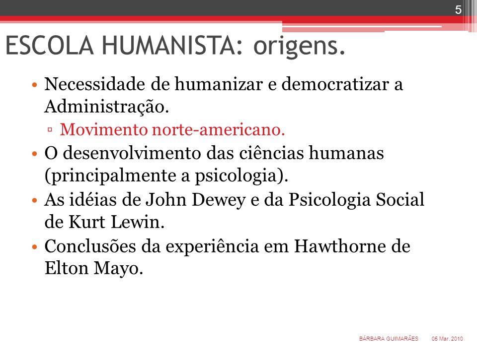 ESCOLA HUMANISTA: origens.