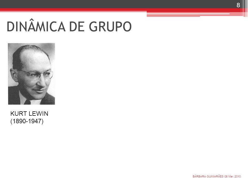 DINÂMICA DE GRUPO KURT LEWIN (1890-1947) BÁRBARA GUIMARÃES