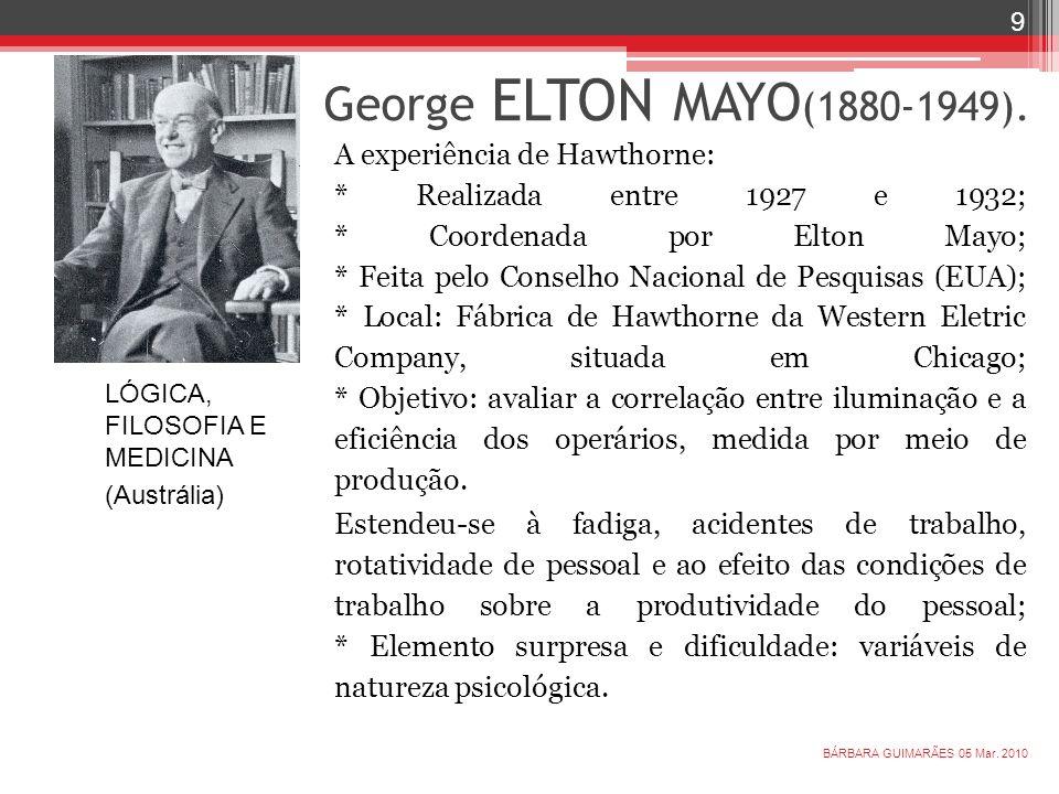George ELTON MAYO(1880-1949).