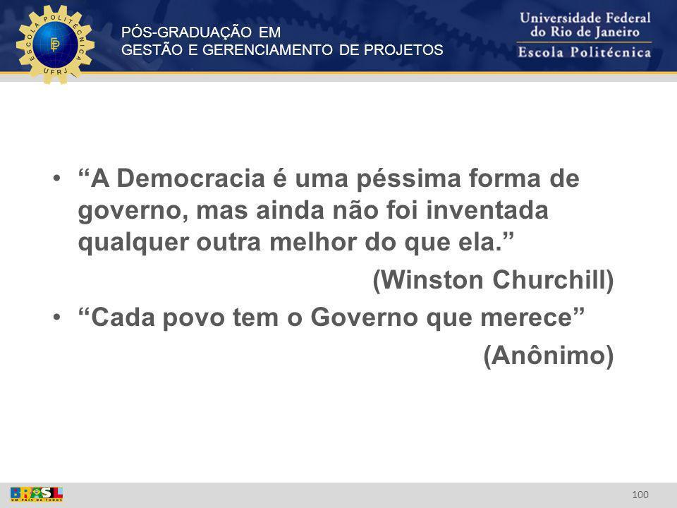A Democracia é uma péssima forma de governo, mas ainda não foi inventada qualquer outra melhor do que ela.