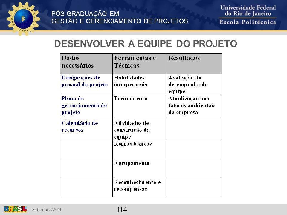 DESENVOLVER A EQUIPE DO PROJETO