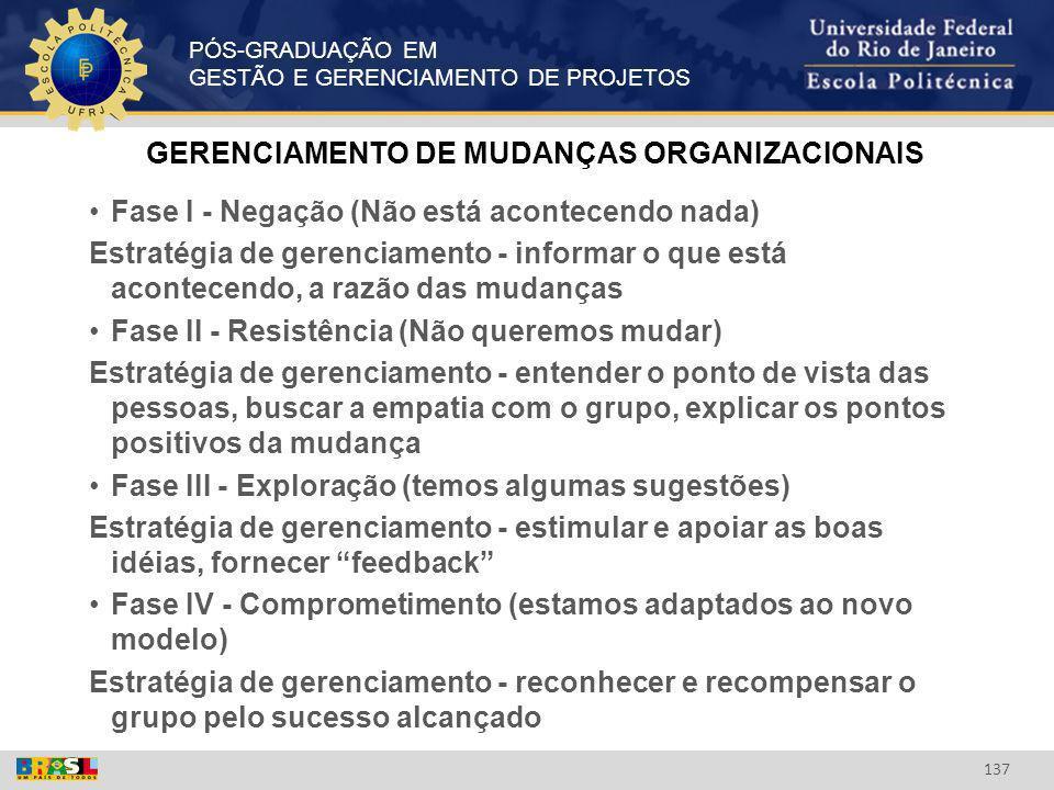 GERENCIAMENTO DE MUDANÇAS ORGANIZACIONAIS
