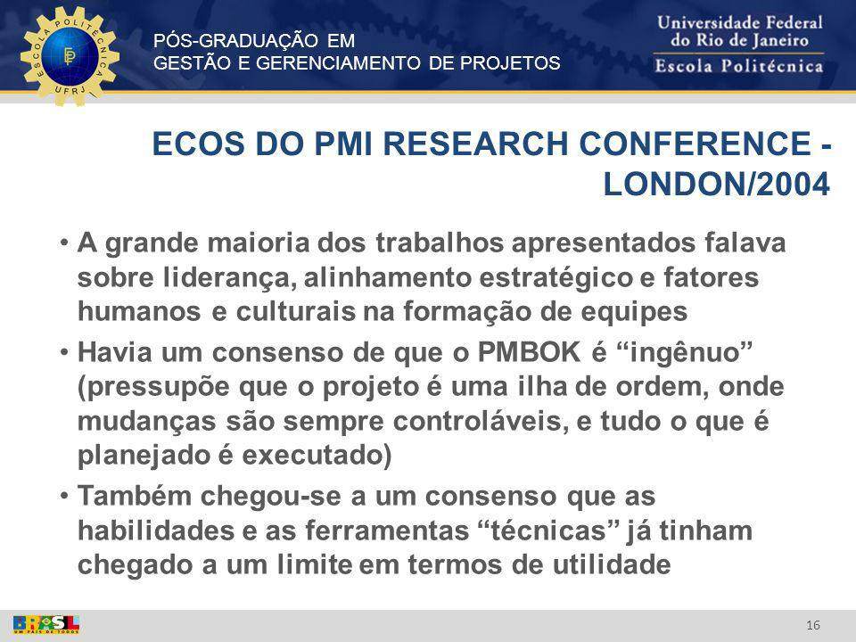ECOS DO PMI RESEARCH CONFERENCE - LONDON/2004