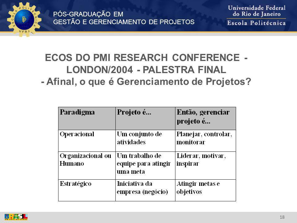 ECOS DO PMI RESEARCH CONFERENCE - LONDON/2004 - PALESTRA FINAL - Afinal, o que é Gerenciamento de Projetos
