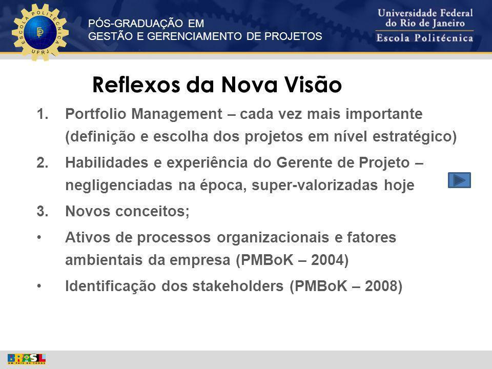 Reflexos da Nova Visão Portfolio Management – cada vez mais importante (definição e escolha dos projetos em nível estratégico)