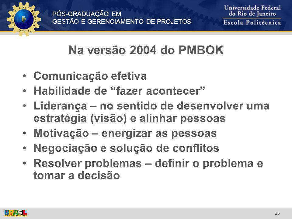 Na versão 2004 do PMBOK Comunicação efetiva