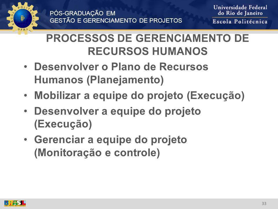 PROCESSOS DE GERENCIAMENTO DE RECURSOS HUMANOS