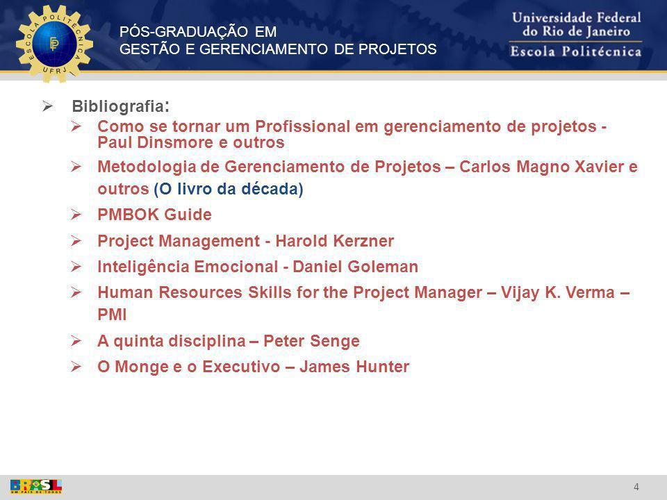 Bibliografia: Como se tornar um Profissional em gerenciamento de projetos - Paul Dinsmore e outros.