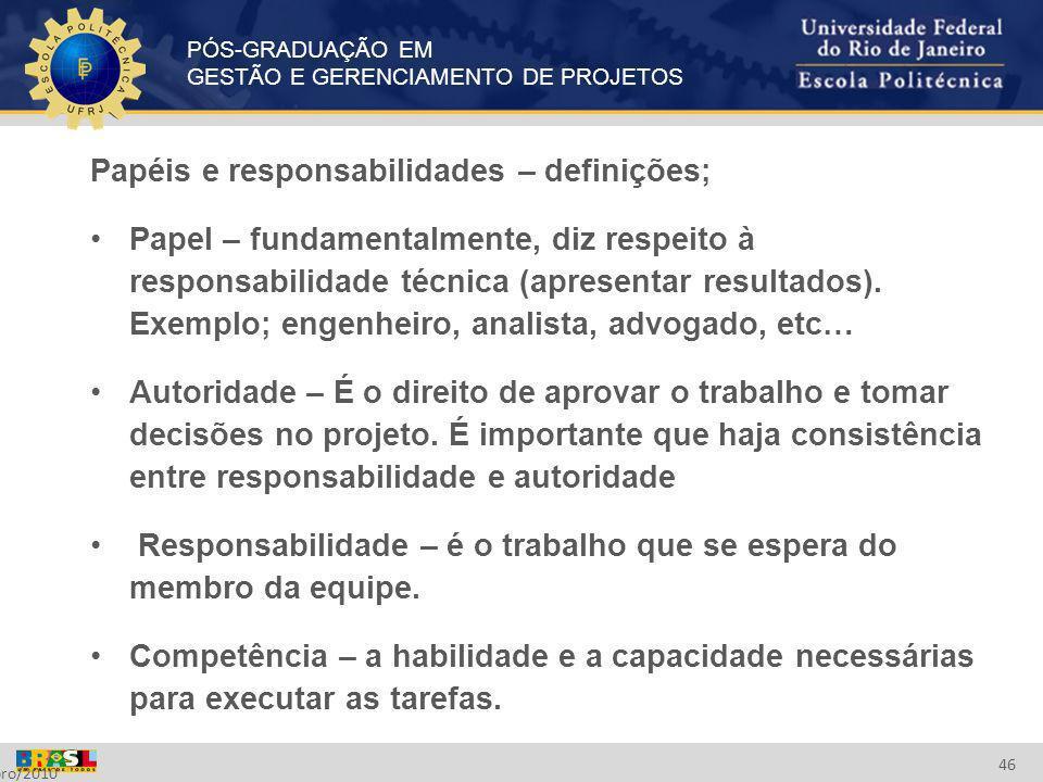 Papéis e responsabilidades – definições;