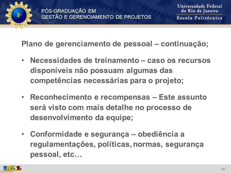 Plano de gerenciamento de pessoal – continuação;