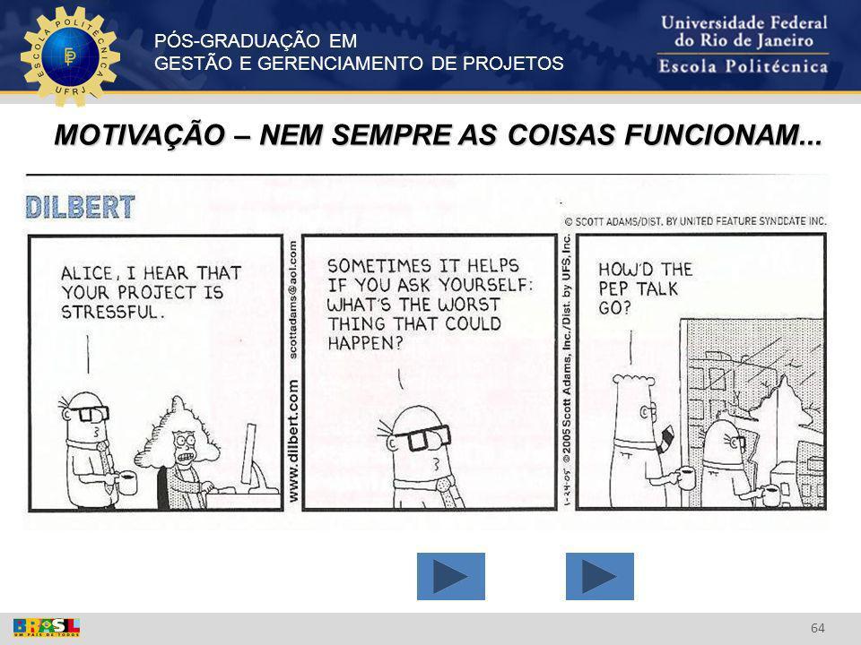 MOTIVAÇÃO – NEM SEMPRE AS COISAS FUNCIONAM...