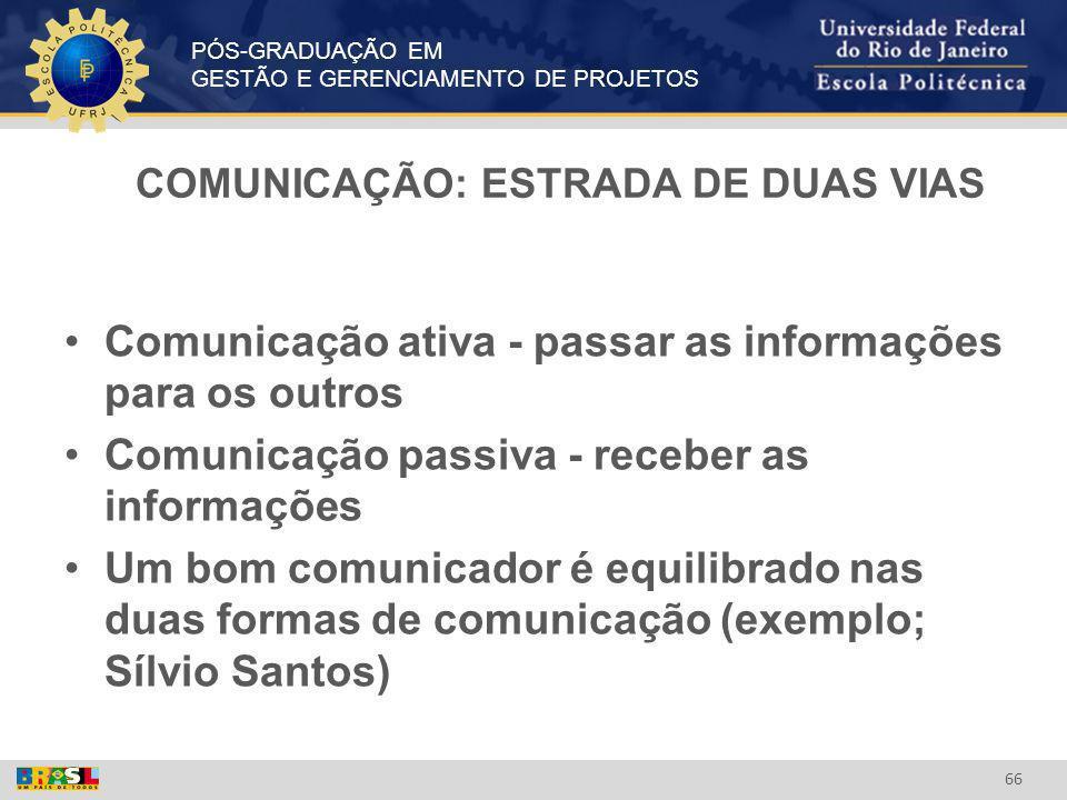 COMUNICAÇÃO: ESTRADA DE DUAS VIAS